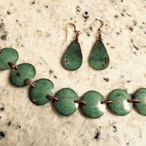 Copper Bracelet and Earrings with Original Patina