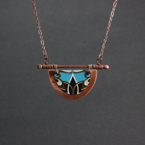 Copper and Decorative Tin Necklace