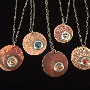 Copper with Decorative Tin in Silver Bezel